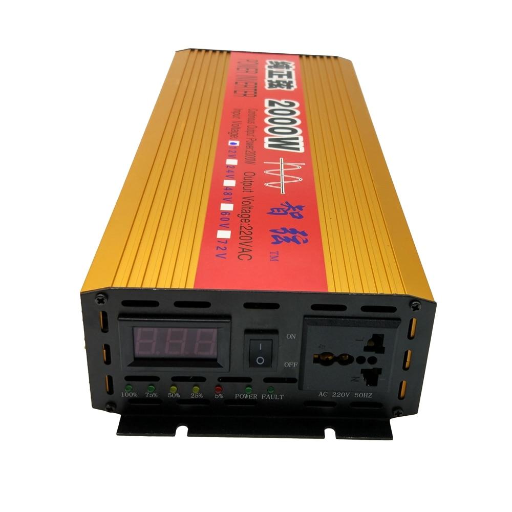 Puissance continue 2000 w Pur Onde sinusoïdale HORS Réseau Inverter DC 12 v/24 v à AC 220 v 50 hz Pic 4000 w Puissance Convertisseur Tension Affichage