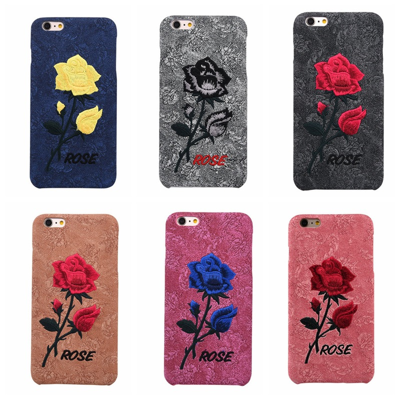 Embroidery for IPhone 7 7plus ip 8 8plus Case Art Rose Handmade 3D Roses Flower Phone Back Cover for Iphone 6 6s Plus Shell Capa