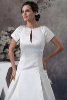 Envío gratis 2016 nuevo diseño de tamaño personalizado/color flor hecha a mano vestido de novia de manga corta de tren blanco Madre de la Vestidos de novia