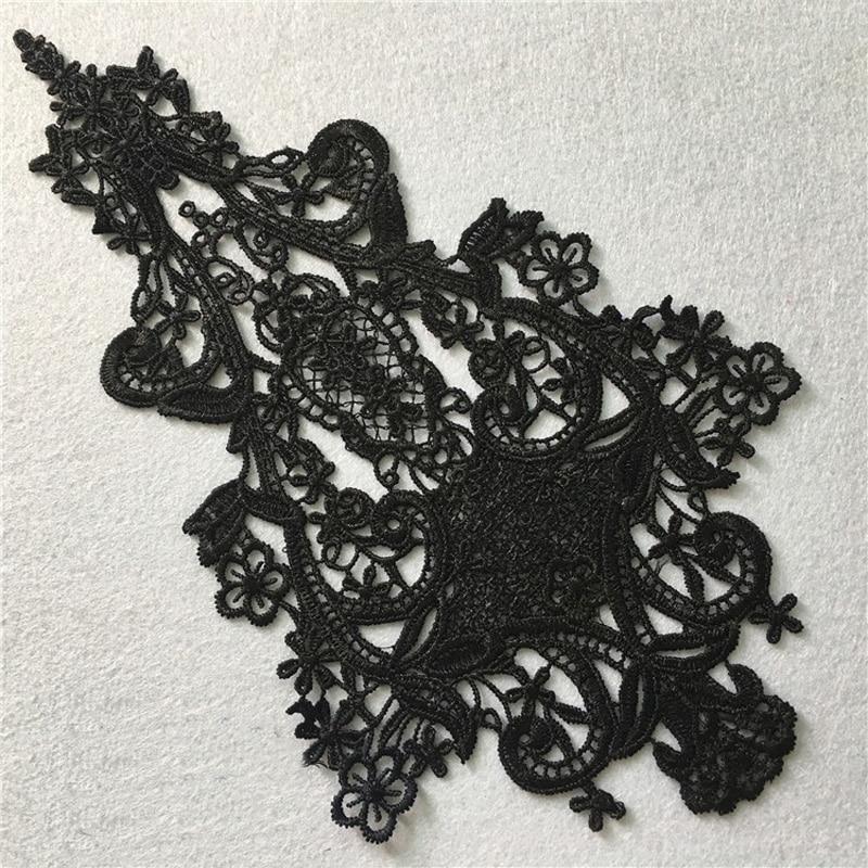 1Pair Floral Venise Lace Appliques Embroidery Lace Collar Trim Black//White