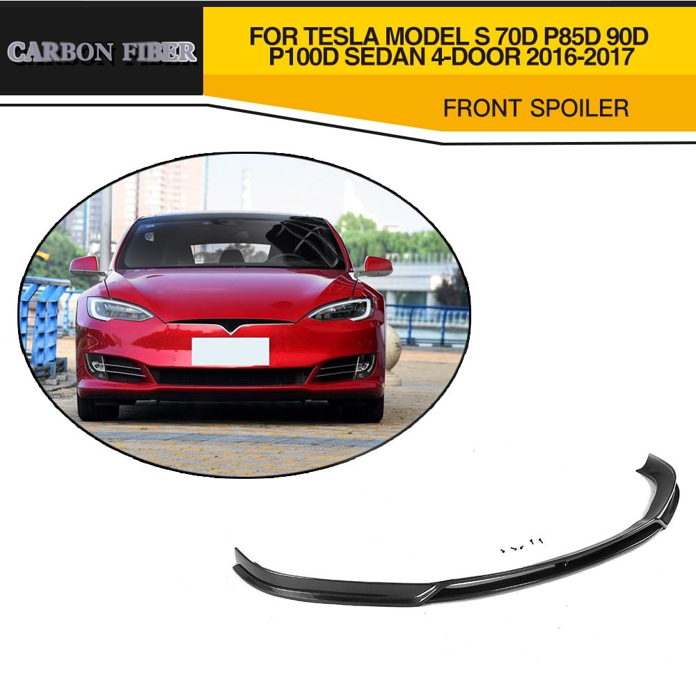 Car Styling Carbon fiber Car Front Lip Spoiler bumper protector for Tesla Model S 70D P85D 90D P100D Sedan 4 Door 2016 2017 front lip spoiler bumper car front lip - title=