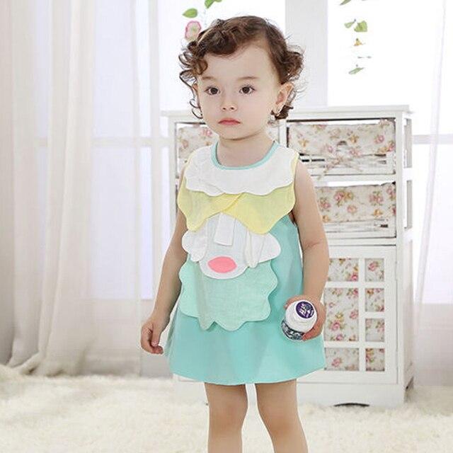 Летние девочки платье, мода платье без рукавов, аппликация стиль пэчворк, дети-Линия платье, детская одежда для 0-3 лет