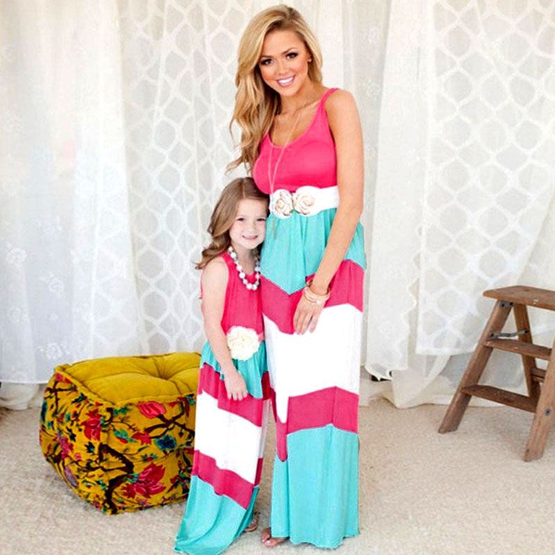 Mother/&Daughter Dresses Striped Matching Mom Girls Maxi Dress Family Clothes