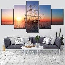 Ship Landscape Painting Modern Home Decor Canvas 5 Piece HD Print Wall Art Car Living Room