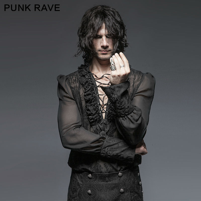 Punk Rave Men Gothic Kera Black shirt Sexy Rock party cosplay steam punk steampunk sexy top emo Clothing Y643 number