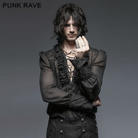 Punk Rave Men Gothic Kera Black shirt Sexy Rock party cosplay steam punk steampunk sexy top emo Clothing Y643