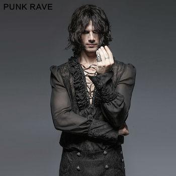 Punk Rave Men Gothic Kera Black shirt Sexy Rock party cosplay steam emo Clothing ropa interior de encaje negra