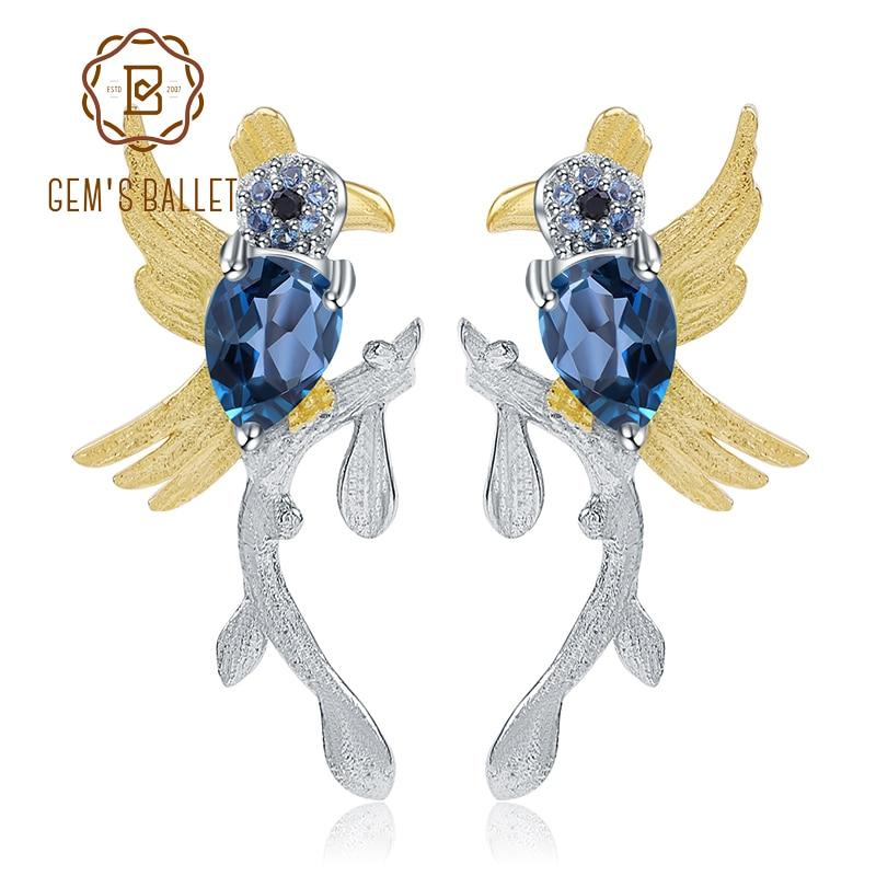 GEM S BALLET 925 Sterling Silver Handmade Earrings 1 30Ct Natural London Blue Topaz Cute Bird