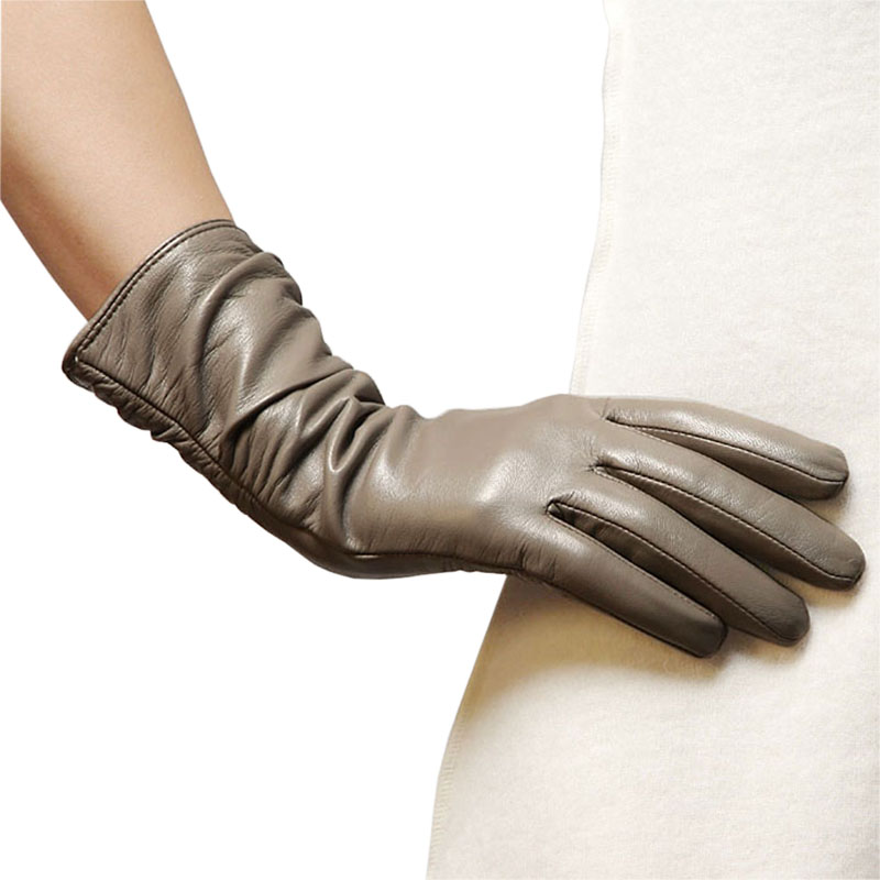 Genuine Leather Women Gloves Thermal Velvet Lined Winter Sheepskin Glove Fashion Casual Elegant Lady Driving Gloves L010NC