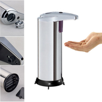 Automatic Sensor Cordless Soap Dispenser Base Wall Mounted Stainless Steel Touch Free Sanitizer Dispenser With Instruction