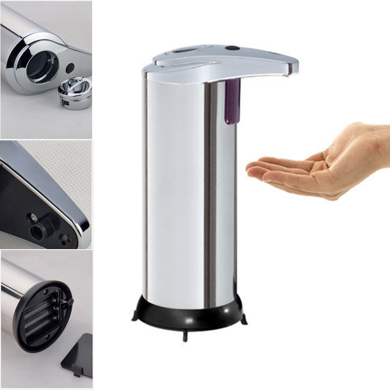 Automatic Sensor Cordless Soap Dispenser Base Wall Mounted Stainless Steel Touch-free Sanitizer Dispenser with Instruction wall mounted elbow hand sanitizer soap dispenser used in hospital for holder