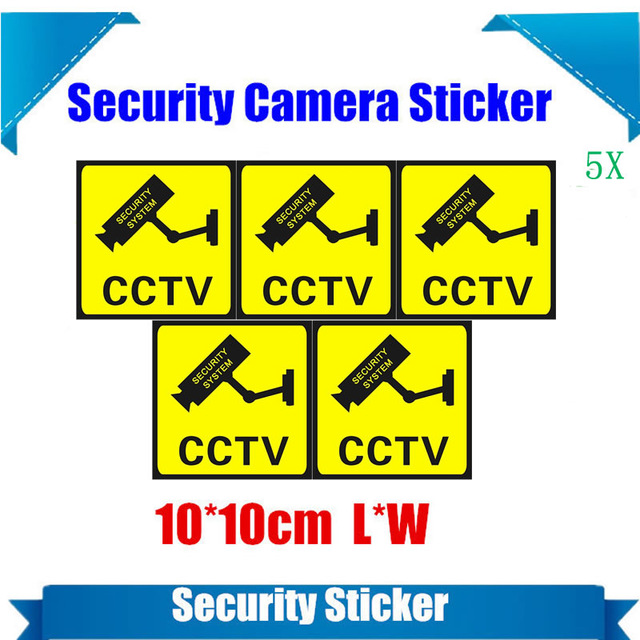 Waterproof Security Camera Sticker Warning Decal Signs For CCTV Surveillance Fake Camera And Dummy Camera