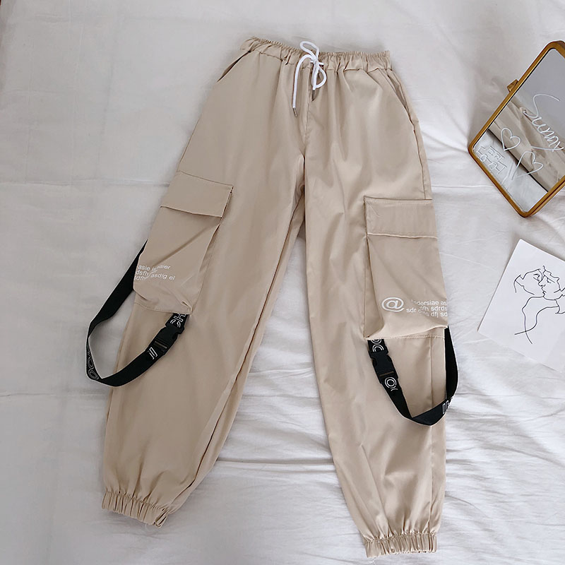 HTB1DflebEH1gK0jSZSyq6xtlpXax - Neploe Hip Hop Streetwear Women Cargo Pants High Waist Pockets Ribbon Trousers Female Loose All Match New Fashion 90230