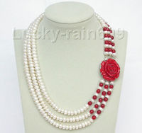 Free Deliver Nobility Woman S Jewelry 17 20 8mm 3row Round White Freshwater Pearls Red Coral