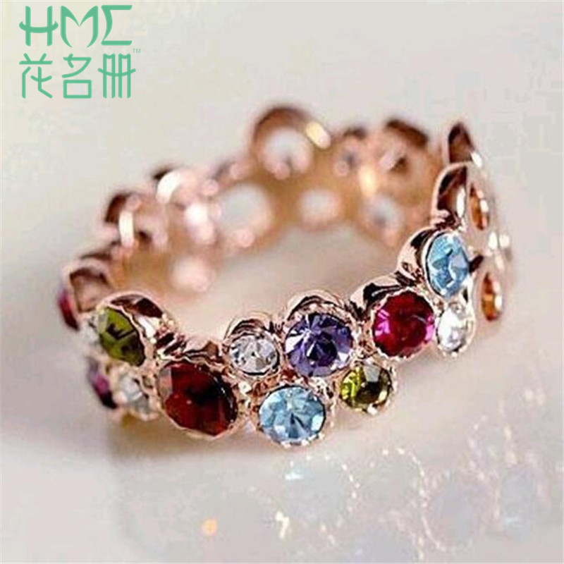 1pc Personality Fashion Lady Fashion Colorful Hollow Crystal Rings Finger Vintage Crystal Cocktail Ring For Women Jewelry Gift