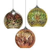 Classic Design LED Lamp Pendant Light Diameter 20cm Colorful Plated Glass Mirror Ball Hanging Light Fixture