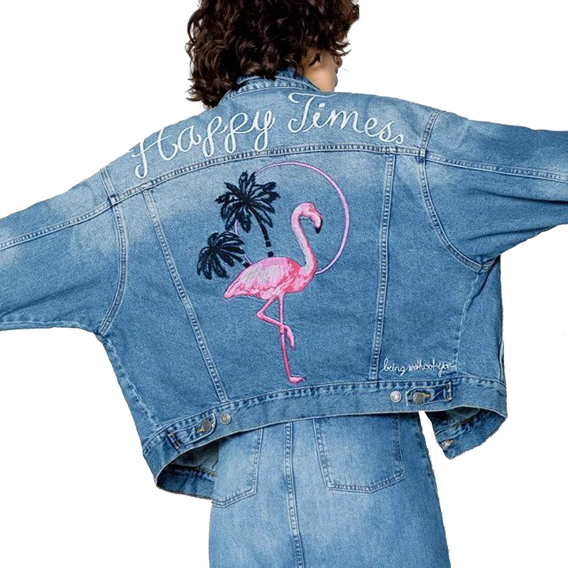 Women denim back crane and letter embroidery cool cowgirls