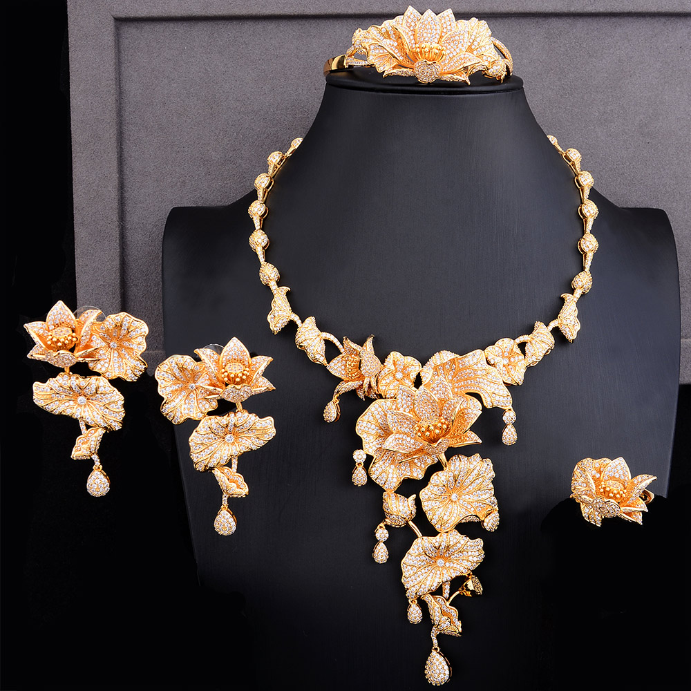 GODKI Luxury Wonderland Fairy 4PCS African Long Jewelry Set For Women Wedding Cubic Zircon Nigeria Dubai