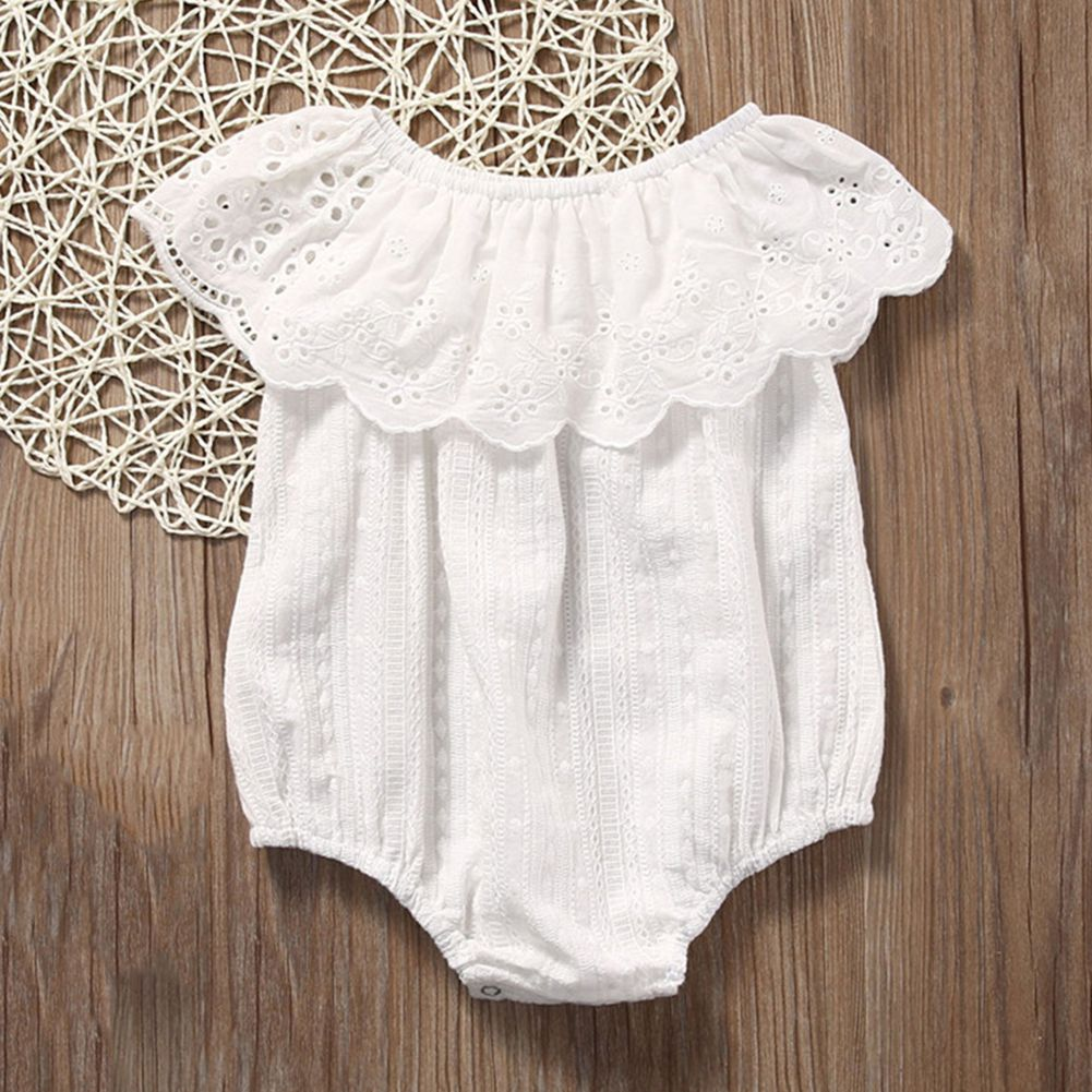 1115a3fca76 2018 New Cute Newborn Baby Girl Romper Clothes White Lace Playsuit Jumpsuit  Outfit Summer Bebes Sunsuit 0 24M-in Rompers from Mother   Kids on ...