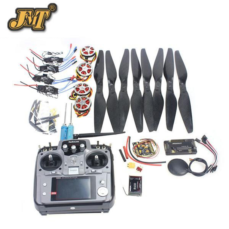 JMT 4-Axis Foldable Rack RC Quadcopter Kit APM2.8 Flight Control Board+GPS+750KV Motor+14x5.5 Propeller+30A ESC+AT10 TX jmt 6 axis foldable rack rc quadcopter kit with qq super flight control 1000kv brushless motor 10x4 7 propeller 30a esc