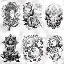 Kindness Wisdom Buddha Sakyamuni Waterproof Temporary Tattoo Sticker Holy Faith Tower Flash Arm Tattoos Body Art Fake Tatoo