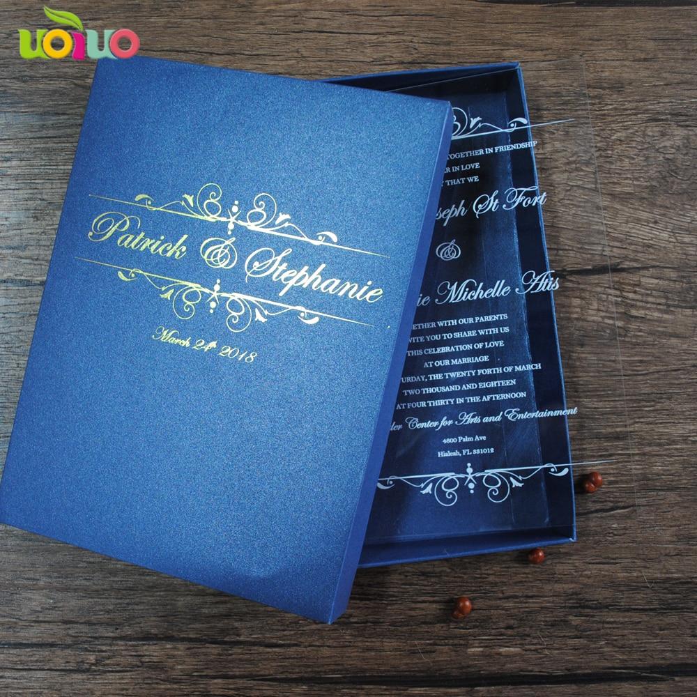 Unique Wedding Invitations In A Box: Royal Navy Blue Wedding Invitation Card Box With Customize
