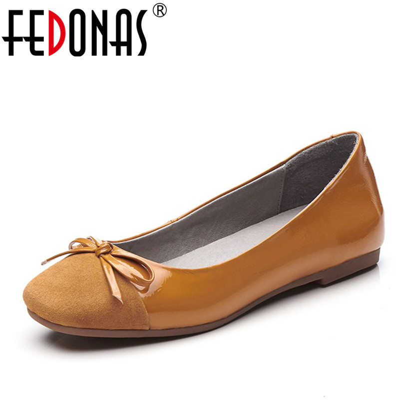 FEDONAS Spring\Autumn Genuine Leather Shoes Woman Flats Fashion Bowknot Casual Ballet Ladies Shoes Woman Comfort Flats Shoes цена 2017