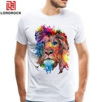 כניסות חדשות של גברים 2018 אופנה צבועה אריה צבעוני עיצוב T חולצה מגניב קיץ חולצות טי מזדמן באיכות גבוהה אפריקה האריה