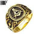 HIP Gold Plated Titanium Stainless Steel Mason Freemason Symbol Member Rings For Men's Punk Masonic Jewelry Band