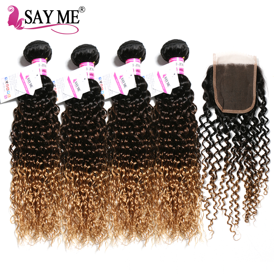 4 Bundels Kinky Curly Bundles With Closure 1B/4/27# Honey Blonde Ombre Brazilian Human Hair Bundles With Closure Remy Hair Weave ...