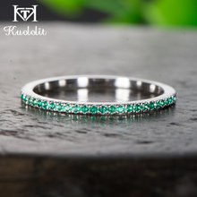 Kuololit Solid 10K White Gold 100% Natural Emerald Gemstone Rings for Women 100% Hand Setting Band Rings Engagement Fine Jewelry(China)