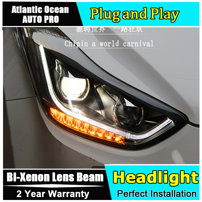 AUTO.PRO 2011-2015 For Hyundai elantra headlights LED car styling light guide H7 elantra head lamps Bi-xenon Double lens par hireno headlamp for 2016 hyundai elantra headlight assembly led drl angel lens double beam hid xenon 2pcs