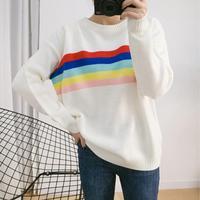 2016 Autumn And Winter The New Korean Version Of The College Wind Color Striped Knit Cape