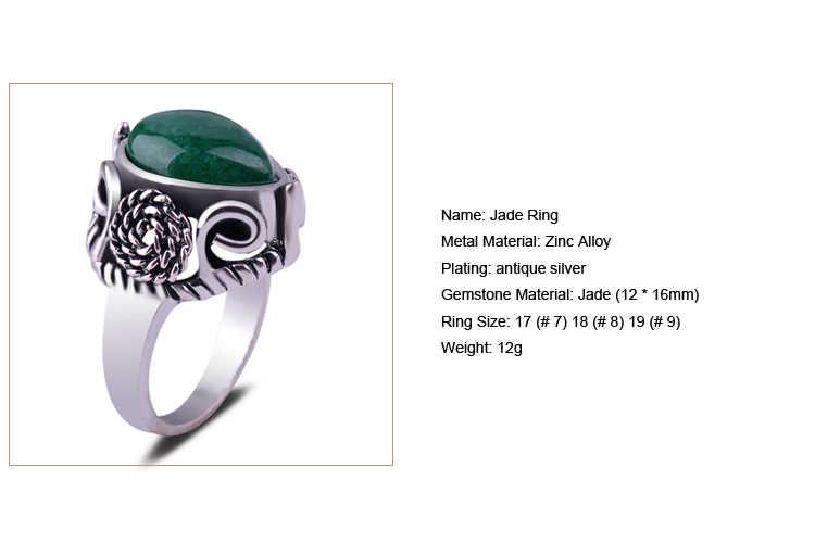 ผู้หญิงหยกแหวนหินโบราณดอกไม้เงินน้ำ DROP-shaped อัญมณีสีเขียวการตั้งค่าเลือกขนาด VINTAGE ผู้ชายลายนิ้วมือแหวน