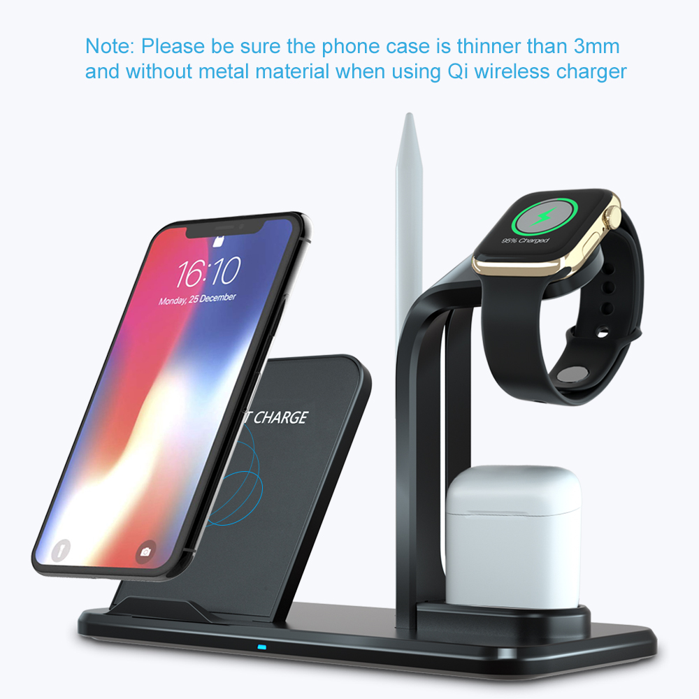 Image 2 - Ascromy Wireless Charger Qi 3 in 1 Holder Stand Station For Apple Watch Series 4 3 2 Iphone 11 Pro Max XS MAX XR Iwatch Airpods-in Mobile Phone Chargers from Cellphones & Telecommunications