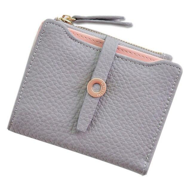 ISHOWTIENDA women's fashion pumping belt buckles money clips soil color cute short money clips ladies purse card bag#g40