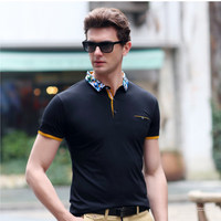 Summer Men S Fashion Lapel Short Sleeved T Shirt Urban Casual Quick Dry Camouflage Clothing Stitching