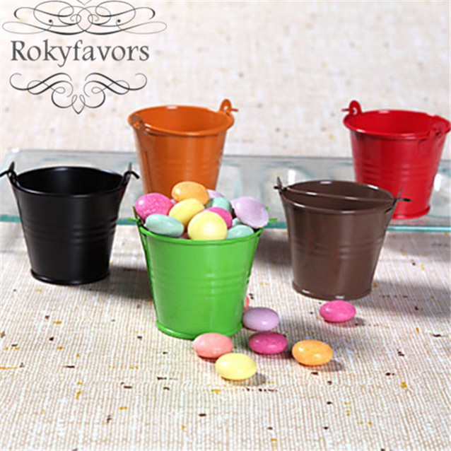 free shipping 100pcs! assorted pastel colored tin pails favor boxes