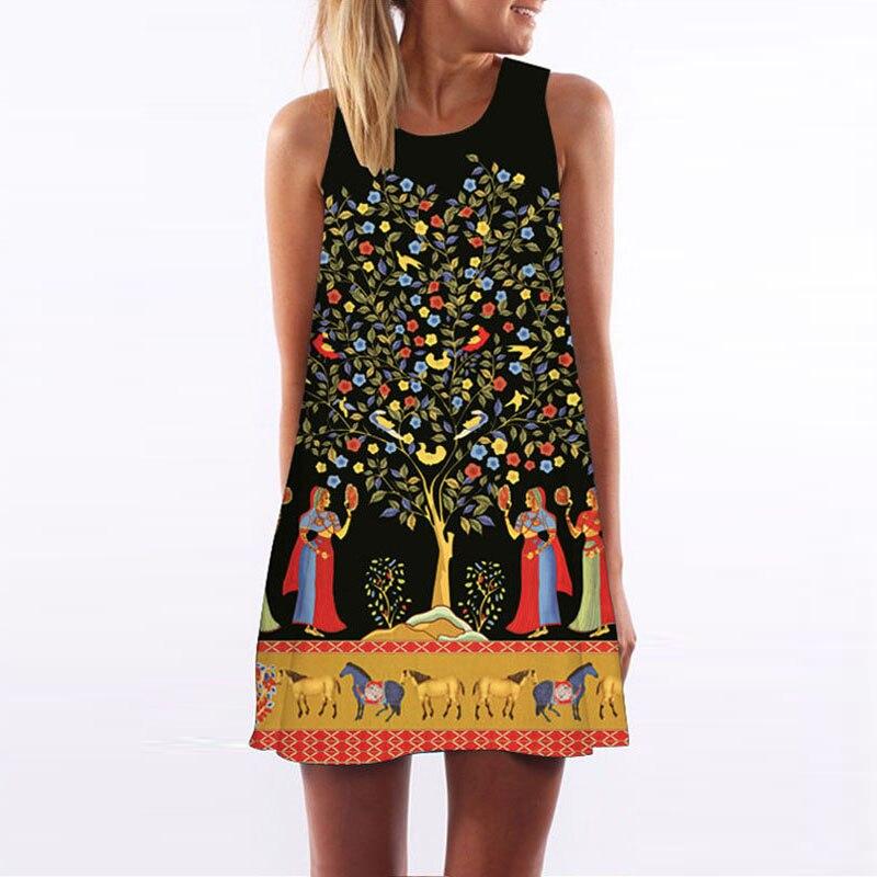 夏の女性のタンクドレス幾何学プリントノースリーブカジュアルルースパーティーカクテルビーチショートミニドレス新しい民族民俗vestidos aライン