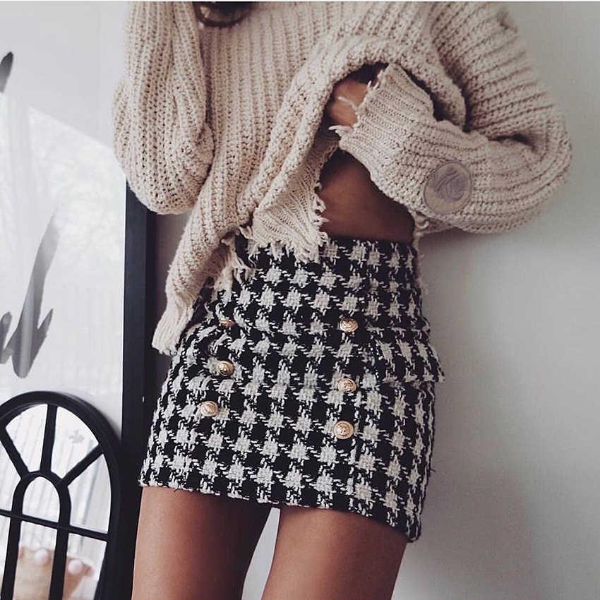 Nowy wybieg mody 2020 projektant spódnica damska metalowe guziki z lwem zdobione Houndstooth Tweed Mini spódnica