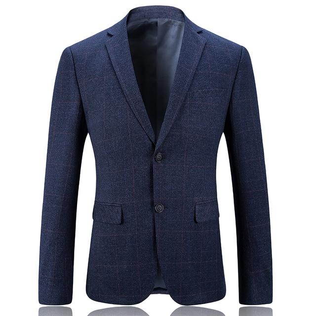 Traje casual para hombres traje azul marino Traje a cuadros moda blazer  hombre de negocios vestido 9826a9ded46a