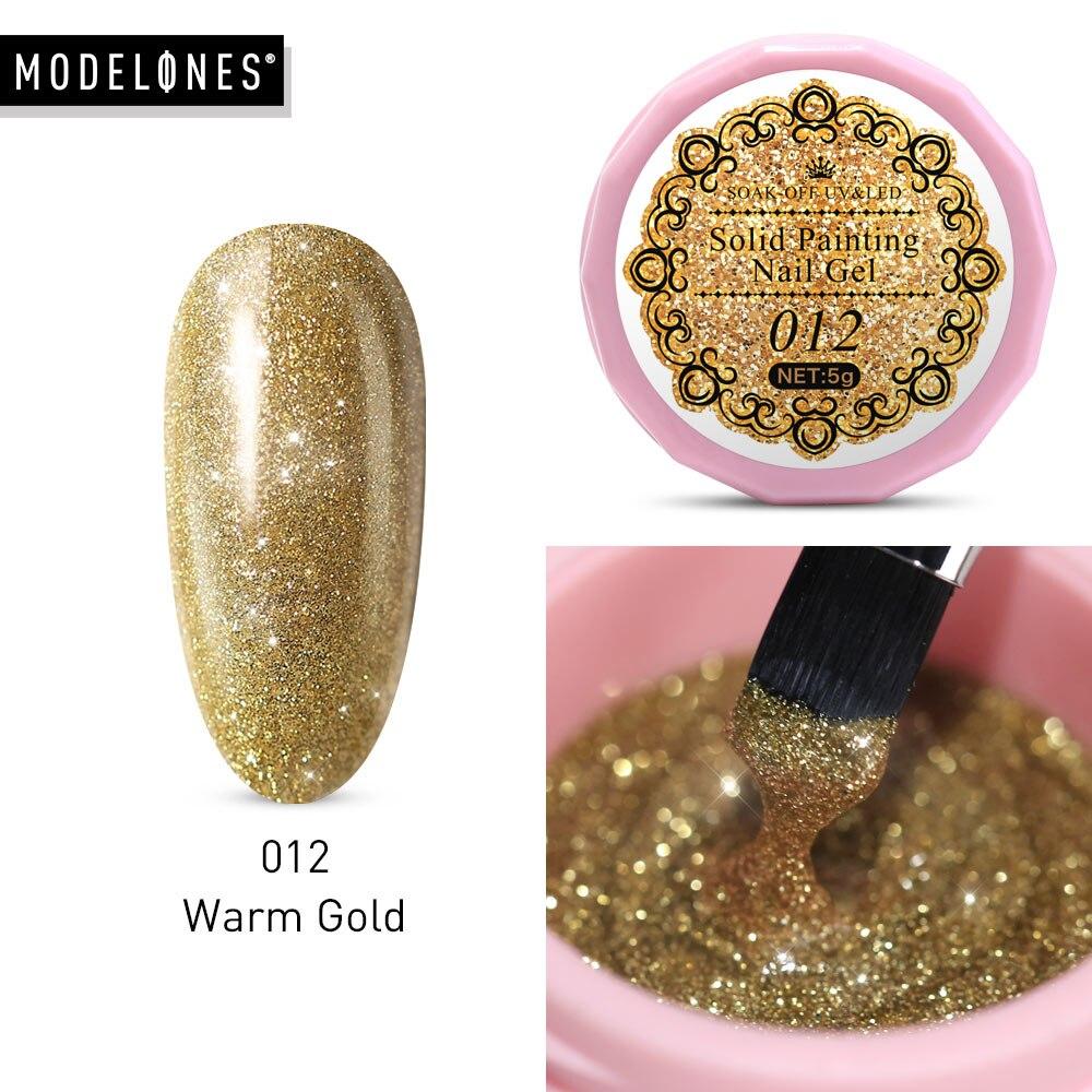 Modelones Solid Gel 5ML Semi Permanent Painting Gel Nail Polish Long Lasting Drawing Gel Lacquer Shiny Glitter Gold Varnish