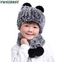 Rex Rabbit Fur Autumn Winter Children Hat Scarf Children Beanies Cap Warm Velvet Kids Baby Scarf Boys and Girls Beanies Cap