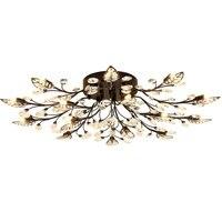 Chandelier Lighting Modern Rustic Chandelier Black Wrought Iron Chandeliers K9 Crystal Led Lamp G9 Led Light