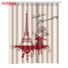 WONZOM New 3D Paris Tower Shower Curtains with 12 Hooks For Bathroom Decor Modern Polyester Fabric Bath Waterproof Curtain 2018