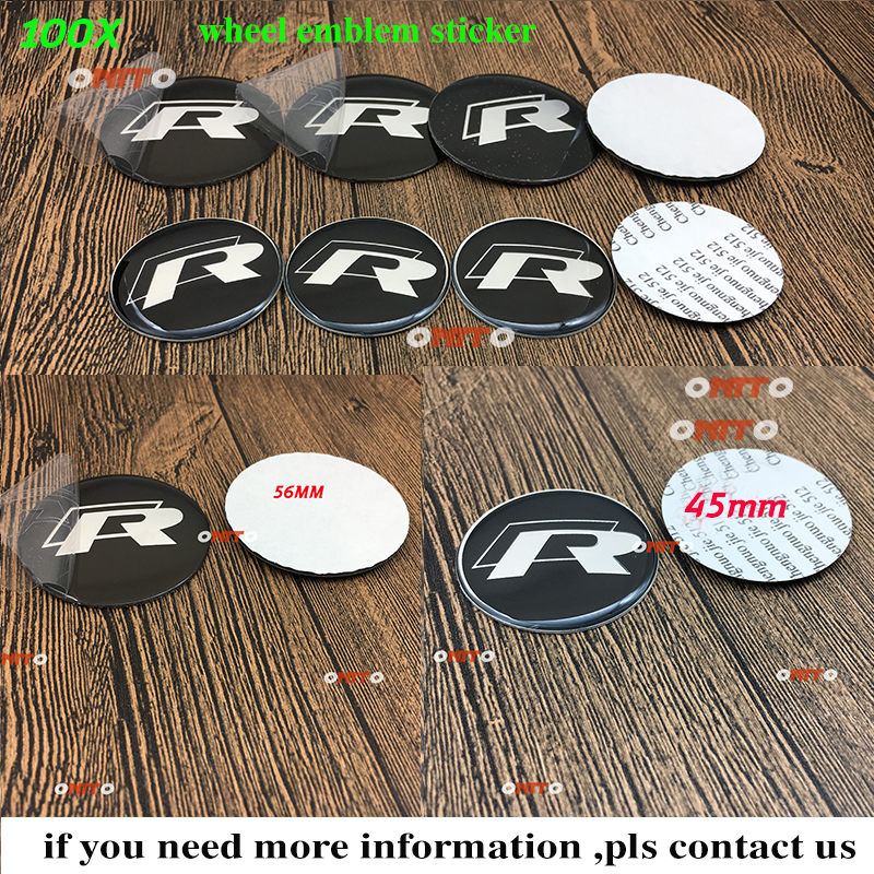 Dust-proof 100pc 56MM 2.2 45MM 1.77 R logo for vw Car Wheel Rim Emblem Sticker Decoration Decal Label Auto Accessorie sign