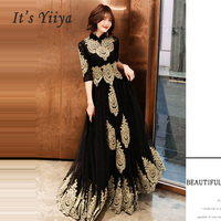 Evening Dress Hight Collar Long Plus Size Elegant 2019 Sexy Hollow Women Party Dress Half Sleeve Robe De Soiree Prom Dress E536