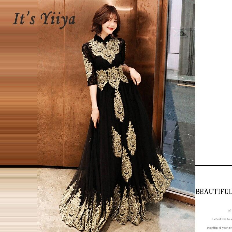 Evening Dress Hight Collar Long Plus Size Elegant 2019 Sexy Hollow Women Party Dress Half Sleeve Robe De Soiree Prom Dress E536