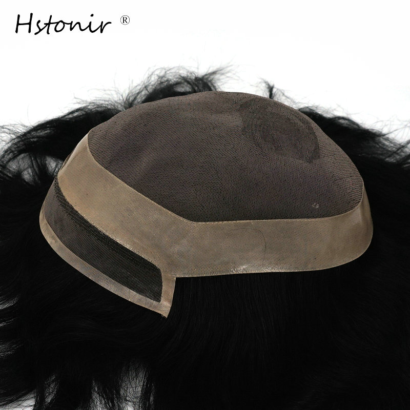 Hstonir Super Natural Looking Welded Mens Toupee Lace Hair Unit Remy Hair Replacement Systems H097