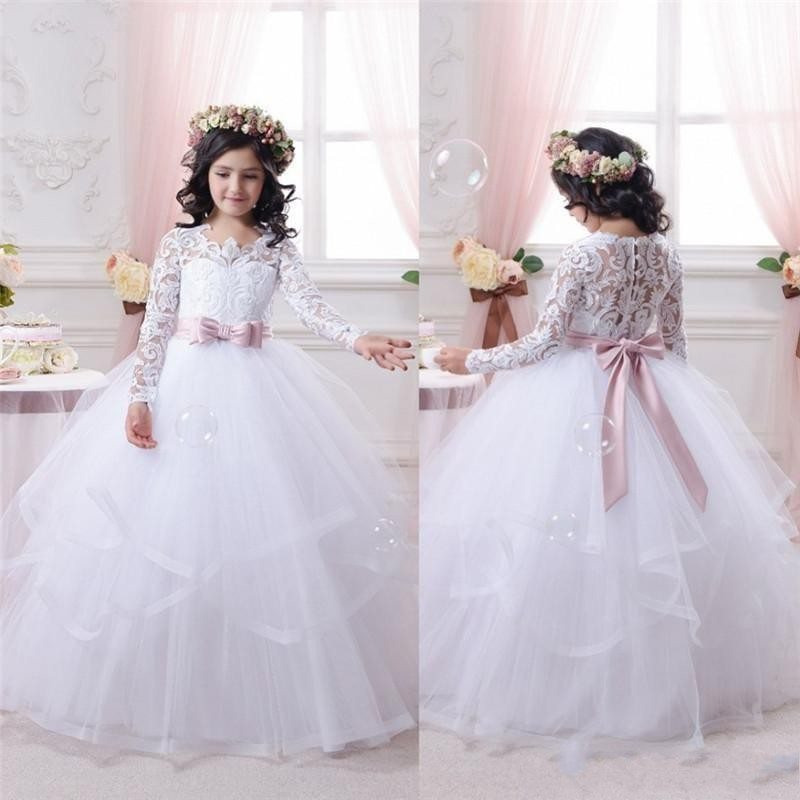 7fe230e19 2017 Cute First Communion Pageant Dresses Long Sleeves Tiered Tulle Ball  Gown with Sashes Flower Girls Formal Occasion Dress